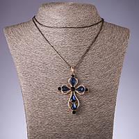 """Подвеска """"Крест"""" с синими кристаллами на длинной цепочке металл """"черное золото"""" L-72см"""
