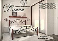 Кровать металлическая Диана (ножки дерево), фото 1