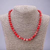 Бусы из натурального камня Варисцит красный бусина гладкий шарик d-8мм L-46см