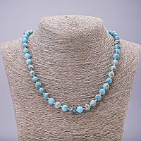 Бусы из натурального камня голубой Варисцит бусина гладкий шарик d-8мм L-46см