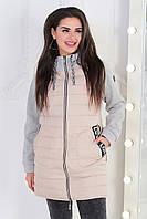 Куртка таганая с трикотажным рукавом, модель 768/2, бежевый, фото 1