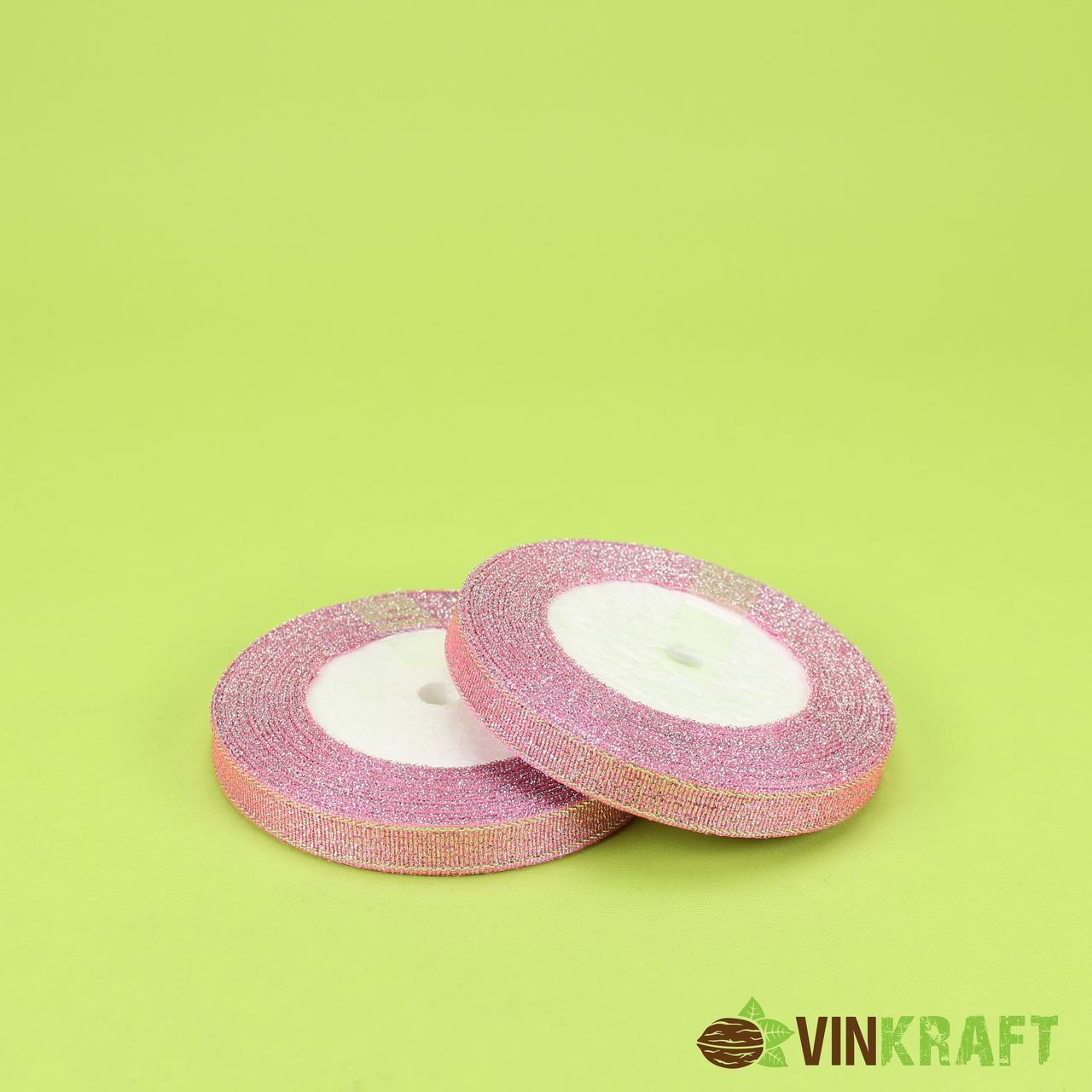 Стрічка парчова 1,2 см (23 м) рожева