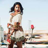 fbc206fd25a Пляжное короткое платье с открытыми плечами из натурального хлопка 1190
