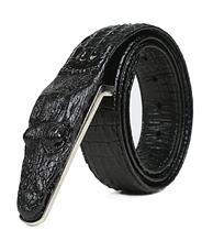 Дизайнерский кожаный ремень «Alligator» черный 125-130 см