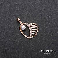Кулон Xuping Сердце позолота 18к 19х23х28мм