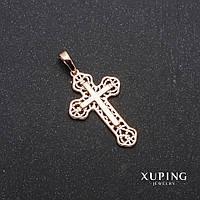Кулон Xuping Крест позолота 18к 19х30х40мм