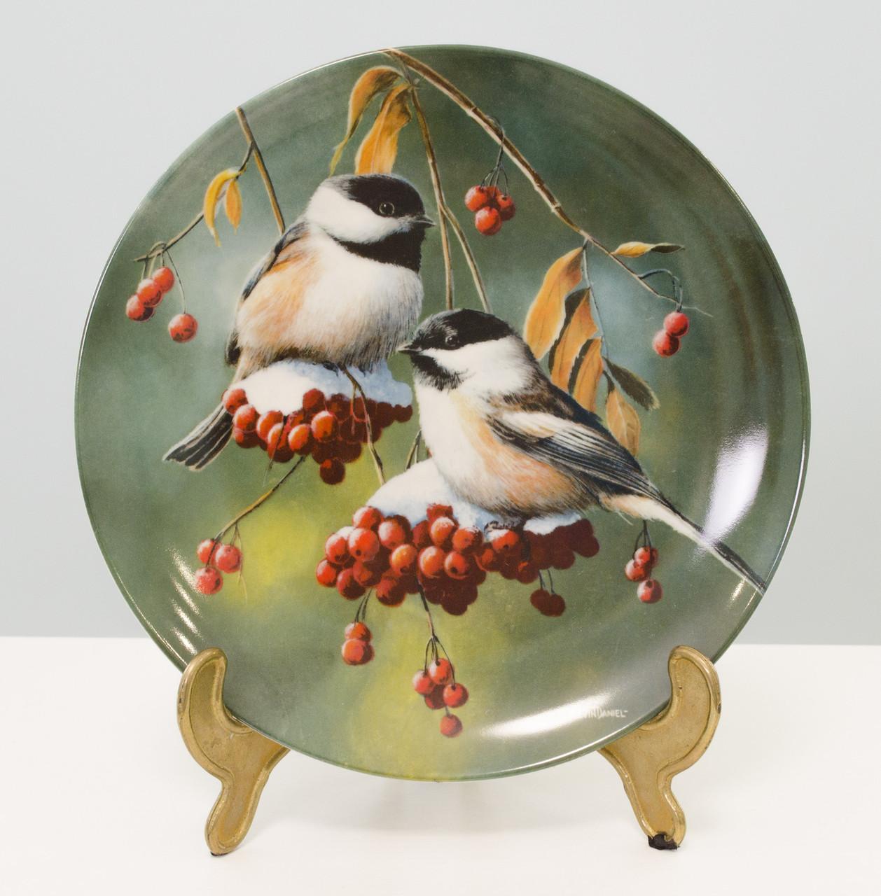 Колекційна порцелянова тарілка, фарфор, The Chickadee, Knowles, Англія, 1986 рік