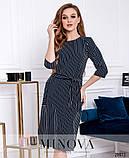 Платье в полоску с рукавами ¾ и съемным поясом в тон раз. 42-50, фото 5