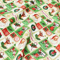 48014 Ткань новогодняя с изображением Санты. Подойдет для елочных игрушек, пэчворка, скрапбукинга и декора.