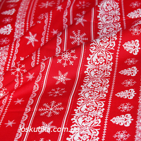 46008 Новогодний орнамент на красном. Подойдет для елочных игрушек, пэчворка, скрапбукинга и декора.