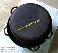 Казан чугунный азиатский на 12л с чугунной крышкой сковородой, фото 1