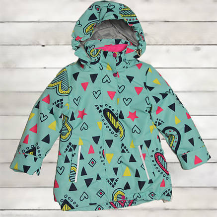 Термо куртка демисезонная для девочки от 5 до 8 лет бирюзовая двойная, фото 2