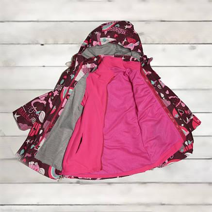 Термо куртка демисезонная для девочки от 4-х до 7 лет марсала двойная, фото 2