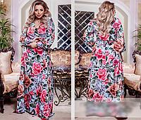 Женское платье длинное с ярким цветочным принтом, с 50-64 размер