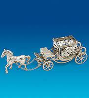 """Фигурка с часами """"Карета с лошадью"""" с кристаллами Сваровски"""