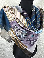 """Стильный платок на шею 95х95 см """"Весеннее цветение"""" (цв.1)"""
