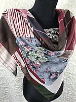 """Осенний хлопковый платок Турция 95х95 см """"Весеннее цветение"""" (цв.3)"""