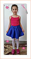Юбка для девочки с Бантом ,цвета: малина,бирюза,електрик,  РОСТ 116-122-128-134-140-146 СМ , код 0603, фото 2