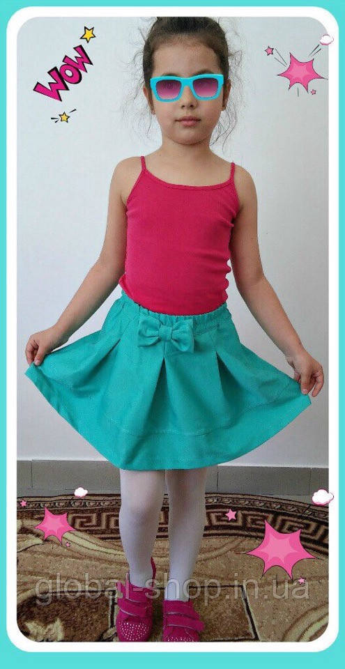 Юбка для девочки с Бантом ,цвета: малина,бирюза,електрик,  РОСТ 116-122-128-134-140-146 СМ , код 0603