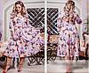 Женское платье расклешенное с ярким цветочным принтом, с 50-64 размер