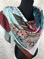 """Легкий хлопковый платок на шею 95х95 см """"Весеннее цветение"""" (цв.6)"""