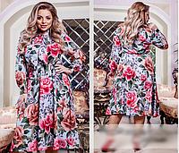 Женское платье расклешенное с ярким принтом розы, с 50-60 размер, фото 1