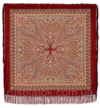 Лучезарный 665-5, павлопосадский платок шерстяной с шелковой бахромой