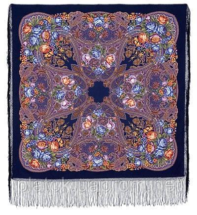 Ненаглядна 1025-14, павлопосадская шаль з ущільненої вовни з шовковою бахромою в'язаної