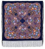 Ненаглядная 1025-14, павлопосадская шаль из уплотненной шерсти с шелковой вязанной бахромой, фото 1
