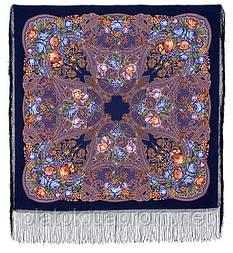 Ненаглядная 1025-14, павлопосадская шаль из уплотненной шерсти с шелковой вязанной бахромой