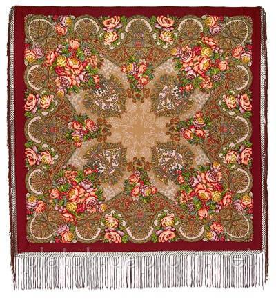 Старый замок 947-6, павлопосадский платок (шаль) из уплотненной шерсти с шелковой вязанной бахромой