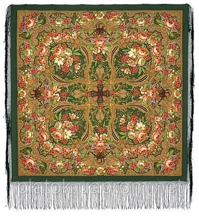 Счастливица 1122-10, павлопосадский платок (шаль) из уплотненной шерсти с шелковой вязаной бахромой