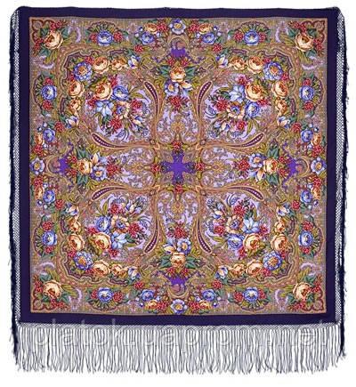 Счастливица 1122-15, павлопосадский платок (шаль) из уплотненной шерсти с шелковой вязанной бахромой