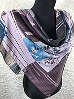 """Женственный платочек на голову и шею хлопок 95х95 см """"Весеннее цветение""""(цв.12)"""