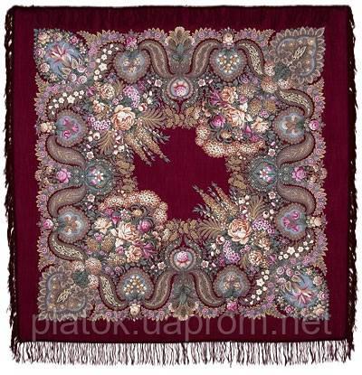 Над серебряной водой 734-7, павлопосадский платок шерстяной  с шерстяной бахромой