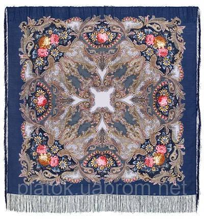 Сон бабочки 1463-12, павлопосадский платок шерстяной с шелковой бахромой