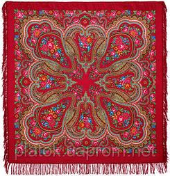 Любава 1289-5, павлопосадский платок шерстяной  с шерстяной бахромой