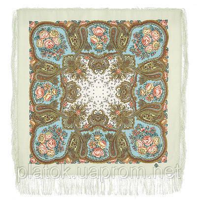 Сольвейг 1549-2, павлопосадский платок шерстяной  с шелковой бахромой