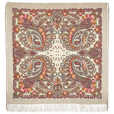 В вихре танца 1567-2, павлопосадский платок шерстяной  с шелковой бахромой