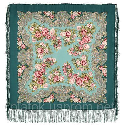 Румянец 1540-9, павлопосадский платок шерстяной  с шелковой бахромой