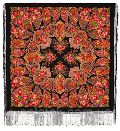 Галина 258-18, павлопосадский платок (шаль) из уплотненной шерсти с шелковой вязанной бахромой