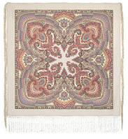 Волшебный узор 1290-2, павлопосадская шаль из уплотненной шерсти с шелковой вязаной бахромой Стандарт, фото 1