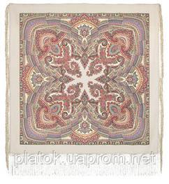 Волшебный узор 1290-2, павлопосадская шаль из уплотненной шерсти с шелковой вязаной бахромой