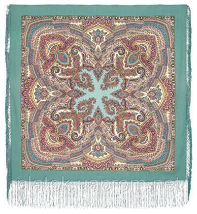 Волшебный узор 1290-3, павлопосадский платок (шаль) из уплотненной шерсти с шелковой вязанной бахромой