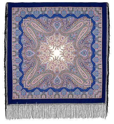 Восточная сказка 1175-13, павлопосадский платок (шаль) из уплотненной шерсти с шелковой вязанной бахромой