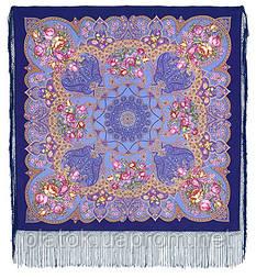 Княжеский 680-13, павлопосадский платок (шаль) из уплотненной шерсти с шелковой вязанной бахромой