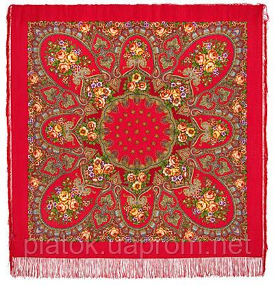 Венский вальс 1121-3, павлопосадский платок шерстяной  с шелковой бахромой