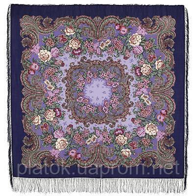 Бал маскарад 982-14, павлопосадский платок шерстяной с шелковой бахромой