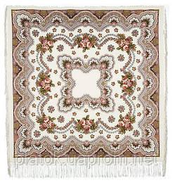 Журавушка 527-1, павлопосадский платок шерстяной с шелковой бахромой