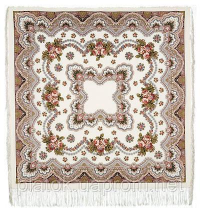 Журавушка 527-1, павлопосадский вовняну хустку з шовковою бахромою